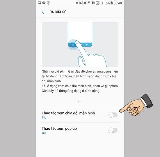 Bật tính năng đa nhiệm Samsung Note 5